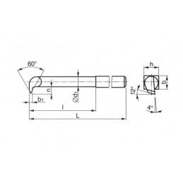 Soustružnický nůž z rychlořezné oceli - na vnitřní závit, 223316, 32x32x250 mm