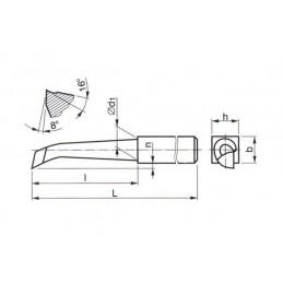 Soustružnický nůž z rychlořezné oceli vnitřní rohový, 223548, 20x20x160 mm