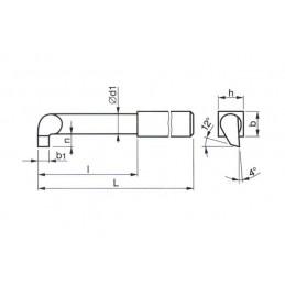 Soustružnický nůž z rychlořezné oceli vnitřní zapichovací, 223552, 32x32x355 mm