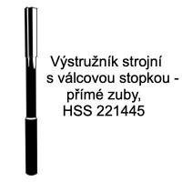 Výstružník strojní s válcovou stopkou - přímé zuby, HSS 221445